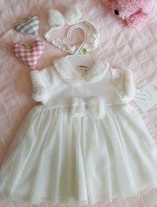 2pc Baby Girl LittleMe White Dress w/Headband